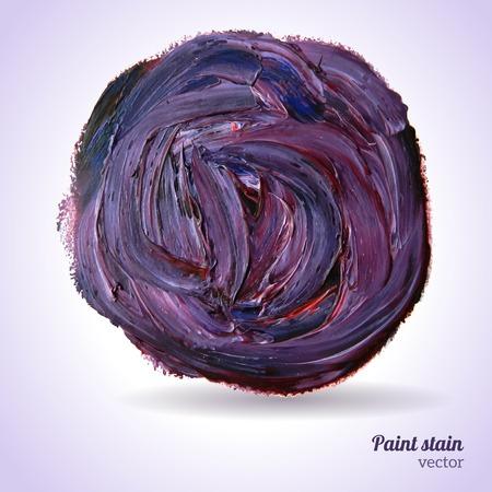Vector illustratie. Violet grunge sjabloon. Blobs, beits, verf vlek. Compositie voor scrapbook elementen. Penseelstreken.
