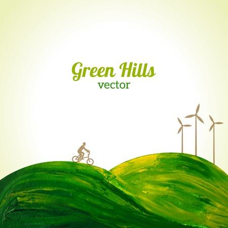 Ilustración del vector. Piensa en verde. Concepto de la ecología. Ciclista y las turbinas eólicas. Ilustración de vector