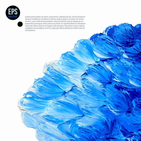 color mixing: Cloud of blue and white oil paints isolated on white. Abstraction composition. Vector design.