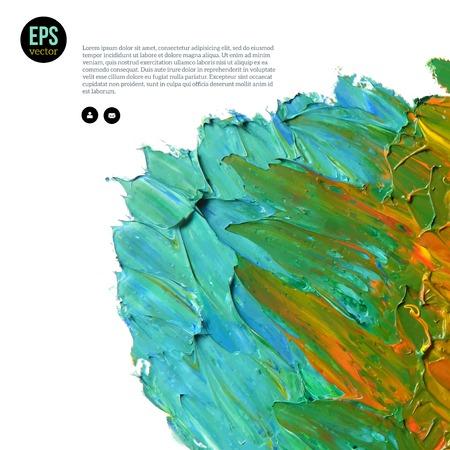 Wolk van blauwe, gele en groene olieverven die op wit worden geïsoleerd. Abstractie samenstelling. Vector ontwerp. Vector Illustratie
