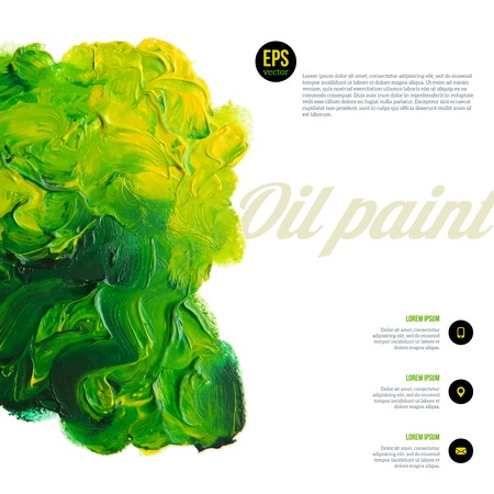 color mixing: Green paints mixture. Vector oil spots. Ecology concept. Abstract banner paints. Illustration