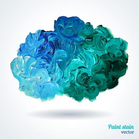 흰색에 고립 된 파란색과 녹색 오일 페인트의 클라우드. 추상화 조성물. 벡터 디자인. 일러스트