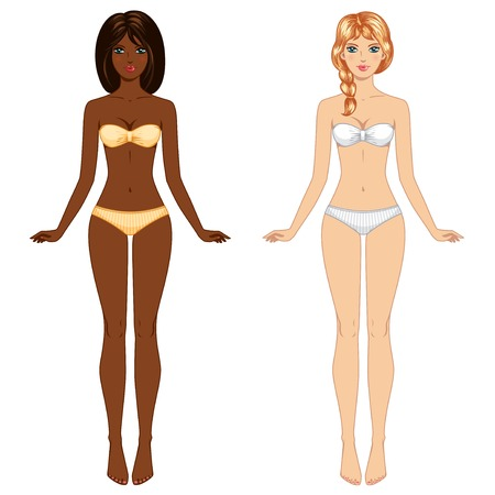 Vector illustration. Female body proportions, front view. Smiling happy face. Mannequin. Isolated on white. Ilustracja