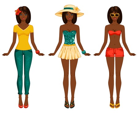 Female body proportions. African American ethic. Stylish dressed woman with long dark hair. Brunette. Vector