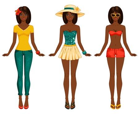 ilustraciones africanas: Proporciones femeninas del cuerpo. Ética afroamericano. Mujer elegante vestida con el pelo largo y oscuro. Morena.