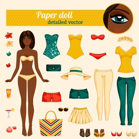Body sjabloon, uitrusting en toebehoren. Vector gedetailleerde illustratie. Afro-Amerikaanse ethiek. Brunette met lang haar. Knippen en spelen. Geel, rood en turquoise kleuren.