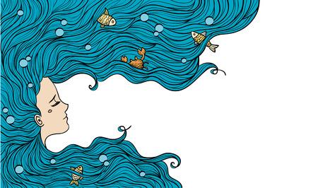 Mädchen mit blauen Haaren. Vektor-Illustration. Frauenportrait.