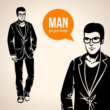 hombre guapo: Ilustraci�n vectorial de un hombre hermoso joven en ropa casual. Moda Hipster. Negro silueta del hombre. Vectores