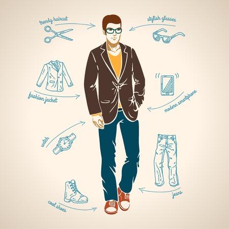 Apuesto joven. Ilustración del vector. Flechas con las tendencias de moda.