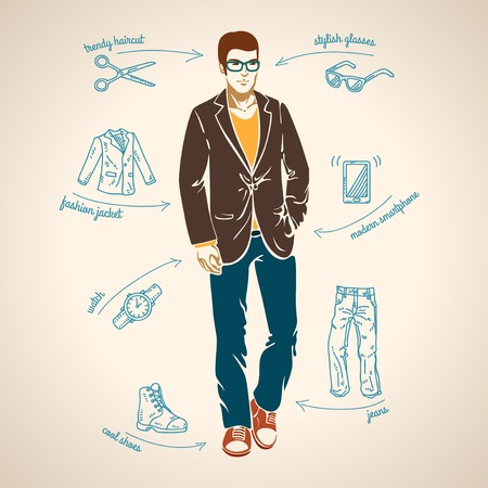 Handsome young man. Vector illustration. Arrows with fashion trends.