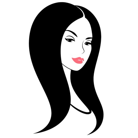 pretty young girl: Lady with hairstyle. Portrait of pretty young girl with short black hair.