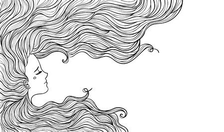 capelli lunghi: Donna con bei capelli. Illustrazione vettoriale. Bella acconciatura.