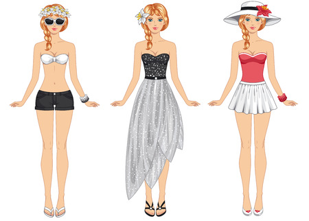 Female body proportions. African American ethic. Stylish dressed woman with long dark hair. Brunette. Vettoriali