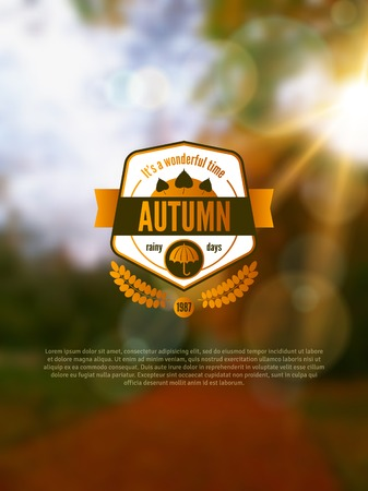 sun beam: Autumn background with vintage label and sun beam. Vector illustration. Abstract blurred background. Bokeh.
