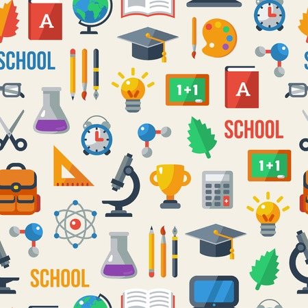 Back to school seamless pattern. Vector illustration. Education background. Vector
