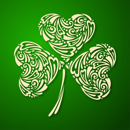 Vector illustration. Vintage template with ornamental leaf clover.