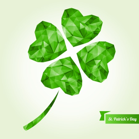 Vector illustration. Abstract polygonal shapes. Low-poly colorful style. Lucky four leaf clover.