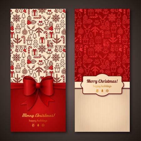 moños navideños: Lugar para el mensaje de texto. Diseño en colores clásicos de Navidad. Diseño de folletos de vacaciones para tarjetas de felicitación corporativas.