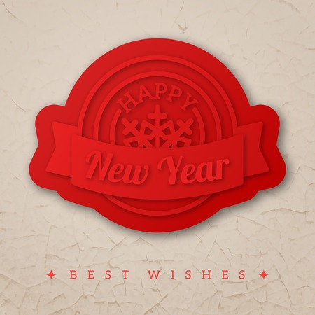 Emblem with ribbon and snowflake. Textured background like old wall with peeling paint. 3D shaped red wax seal. Illustration