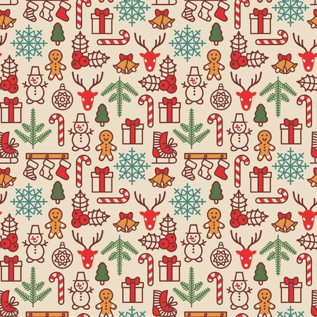 Wrapping paper pattern in vintage style. Cute Xmas characters. Deer head. Snowman in hat. Gingerbread man. New Year icons.