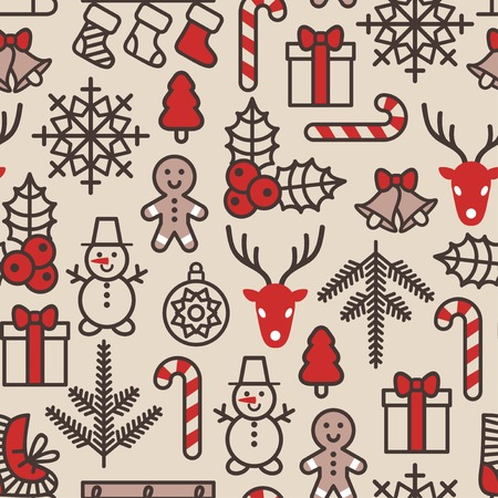 Wrapping paper pattern in vintage style. Cute Xmas characters. Deer head. Snowman in hat. Gingerbread man. New Year icons. Vector