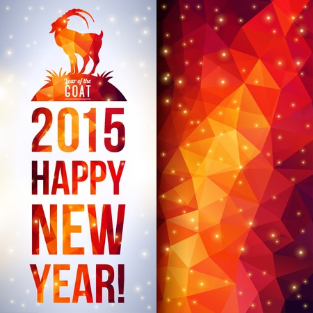 new year's eve: Chinese astrological sign. New Year 2015. Shining background made up from triangles. Illustration