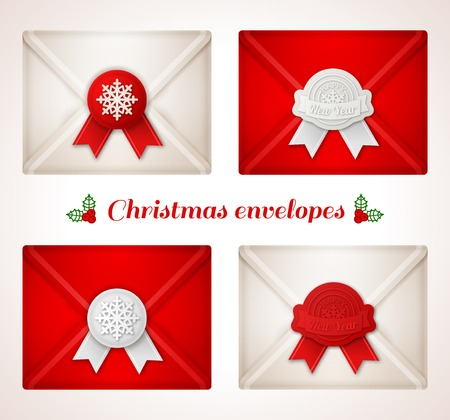 Set of Christmas envelope icons with red and white wax seals. Isolated on white background. Vector illustration. Vector