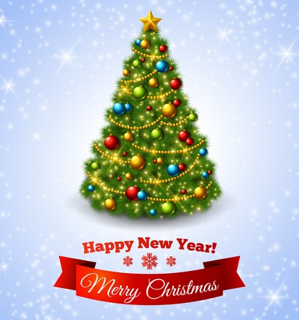 Christmas fir tree with colorful baubles and gold star. Vector illustration. New Year congratulations.  イラスト・ベクター素材