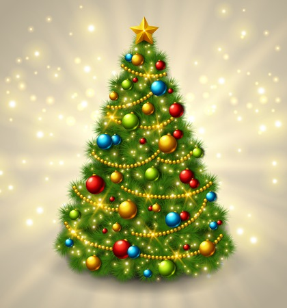 Christmas tree with colorful baubles and gold star on the top. Vector illustration. Glowing festive background with light beams and sparks. Vettoriali