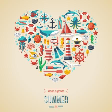summer: Conceito do verão. Ícones lisos organizar em forma de coração. Ilustração do vetor. Símbolos marinhos. Esporte lazer mar.