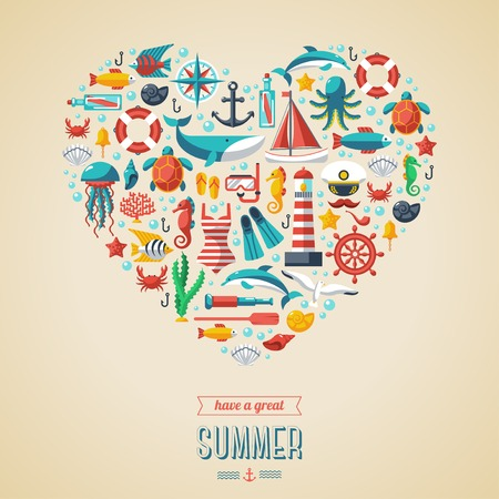 summer vacation: Summer concept. Flat icons arrange in the form of heart. Vector illustration. Marine symbols. Sea leisure sport.