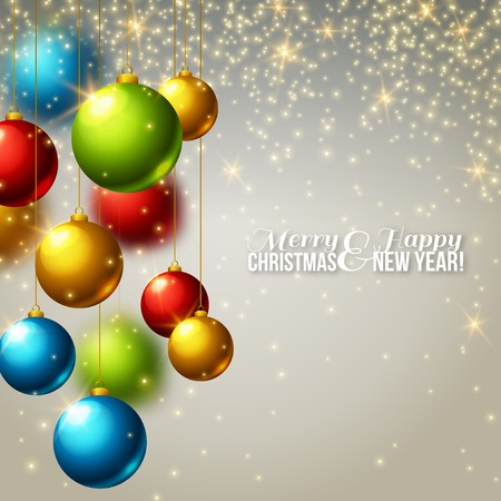 seasons greetings: Christmas background with colorful balls. Vector illustration. Lights, sparkles. Design for invitations or announcements. Season greetings. Illustration