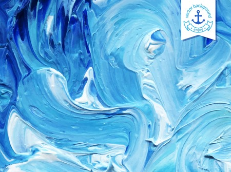 waves: Oil painted background. Vector illustration.  Abstract backdrop. Blue water waves painted in oil.
