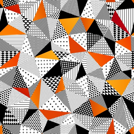 vintage wallpaper: Contrasting fashionable polygonal backdrop with black and orange panes. Beautiful geometric design for various craft projects.
