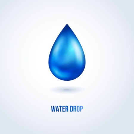 Blue shiny water drop. Vector illustration. Nature web icon.