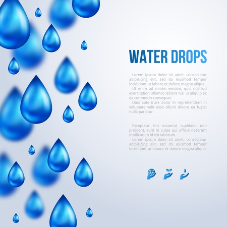 Water Drops. Vector illustration. Rainy day. Blurred rain.