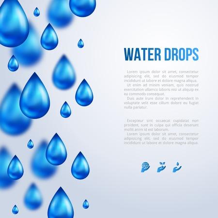 Water Drops. Vector illustratie. Regenachtige dag. Wazig regen.
