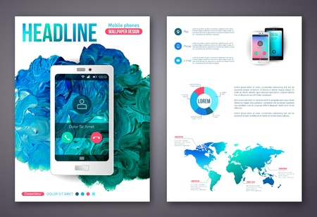 advertising template: Flyer or Brochure Business Design Template. Painted Abstract Modern Background. Mobile Technologies, Applications and Online Services Infographic Concept. Illustration