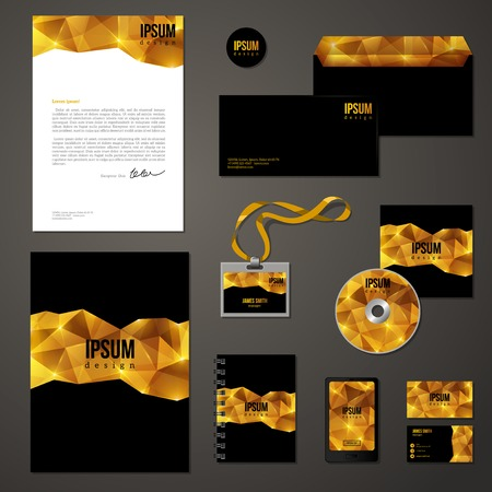 stationary set: Golden corporate identity template. Vector company style for brandbook and guideline. Envelope, business cards, folder, disc with packaging, magnet, notebook, badge, phone interface design. Illustration