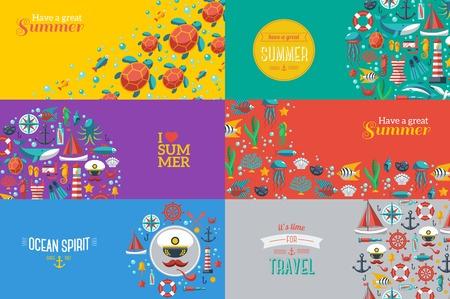 verano: Banderas del verano con s�mbolos marinos. Ilustraci�n del vector. Me encanta el verano. Concepto del verano. Deporte ocio mar.