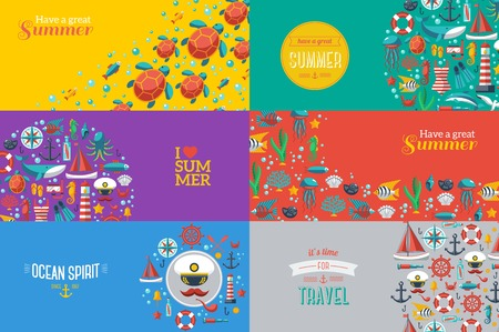 de zomer: Zomer Banners met mariene symbolen. Vector illustratie. Ik hou van de zomer. Concept van de zomer. Zee recreatie sport. Stock Illustratie