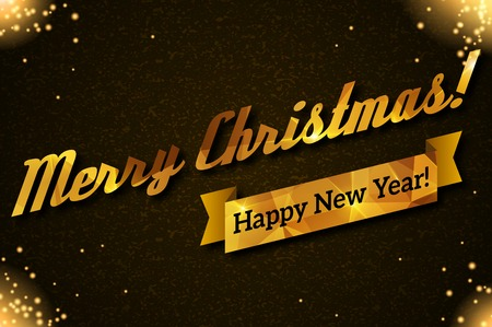 gold textured background: Vector illustration. Gold lettering on black textured background. Lights and sparkles. Golden ribbon.