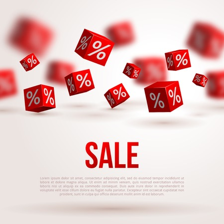 Sale poster. Vector illustration. Design template for holiday sale event. 3d red cubes with percents. Original festive backdrop. Çizim