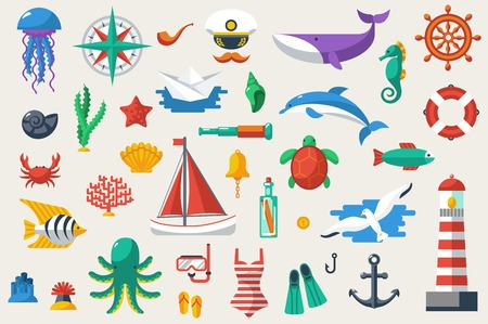 ocean: Vector illustration. Sea leisure sport. Nautical design elements.