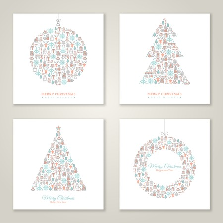 Vector illustration. New year greetings. Christmas icons and symbols formed abstract shapes. Vintage style.