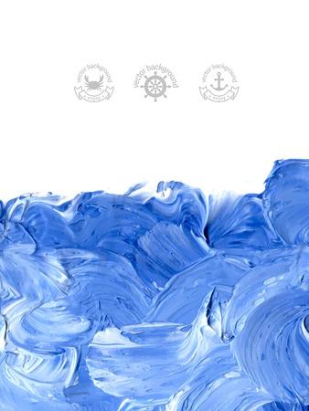 Huile peint fond. Vector illustration. Résumé toile de fond. Des vagues d'eau bleues peintes à l'huile. Symboles et étiquettes marins. Banque d'images - 33640460