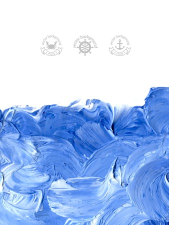 Oil painted background. Vector illustration. Abstract backdrop. Blue water waves painted in oil. Marine symbols and labels.