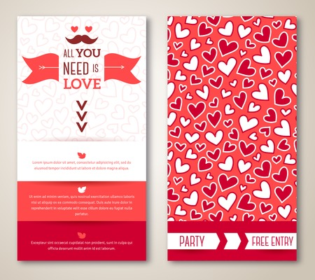 valentines: Beautiful greeting or invitation cards with heart pattern. Valentines day. Vector illustration. Typographic template for your text Illustration