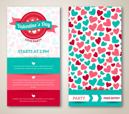 Beautiful greeting or invitation cards with heart pattern. Valentine\'s day. Vector illustration. Typographic template for your text