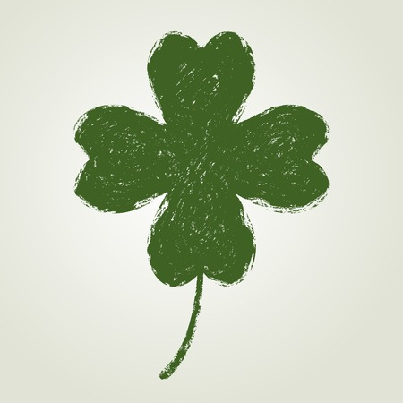 stroke of luck: St. Patricks day background with four leaf clover. Saint Patrick symbol. Grunge style.